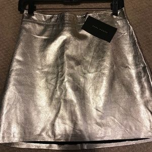 Silver metallic skirt